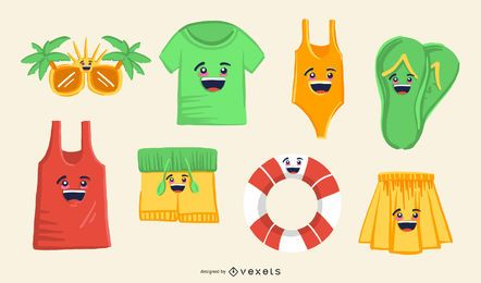 Sommer-Emoji-Set