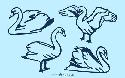 Conjunto de vector de trazo de cisne