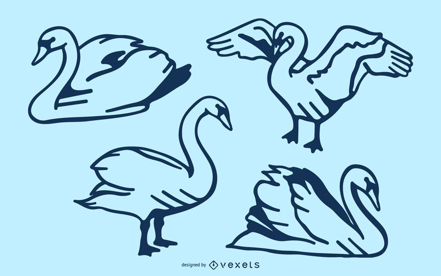 Swan stroke vector set
