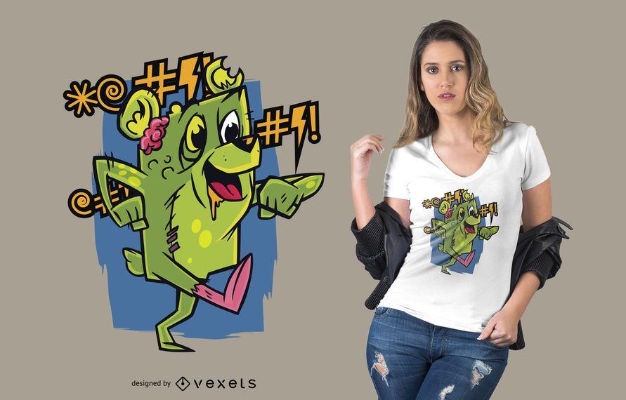 Cursing Zombie Teddy Bear T-shirt Design