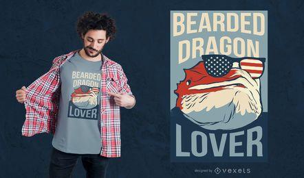 Diseño de camiseta de amante del dragón barbudo.