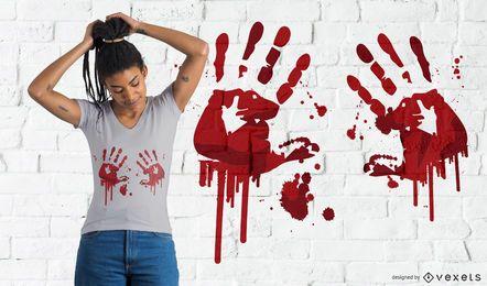 Desenho de t-shirt de handprints sangrenta