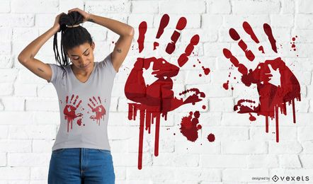 Diseño de camiseta sangrienta de huellas de manos.