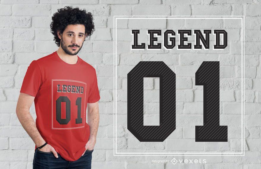 Diseño de camiseta número de letras