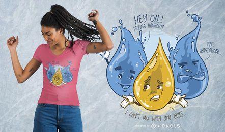 Design engraçado do t-shirt do óleo da água