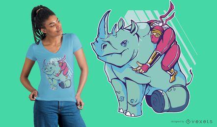 Diseño de camiseta de rinoceronte ninja