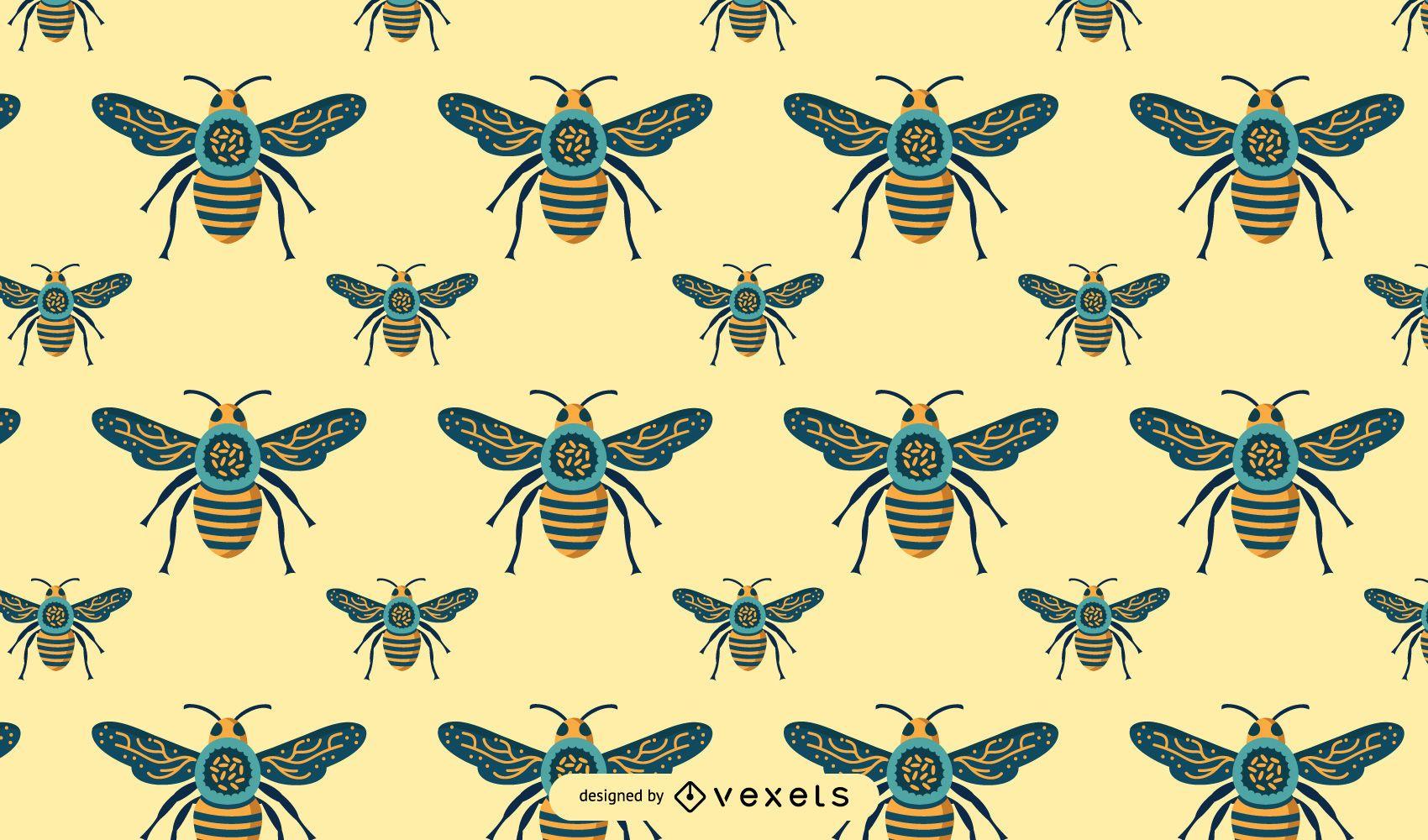 Seamless Bee Pattern Design