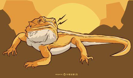 Diseño de ilustración de iguana