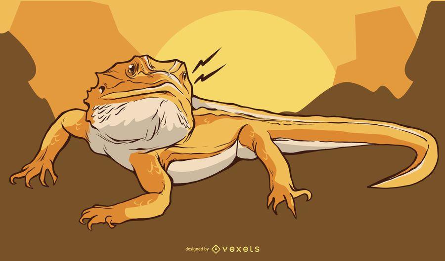 Projeto de ilustração de iguana