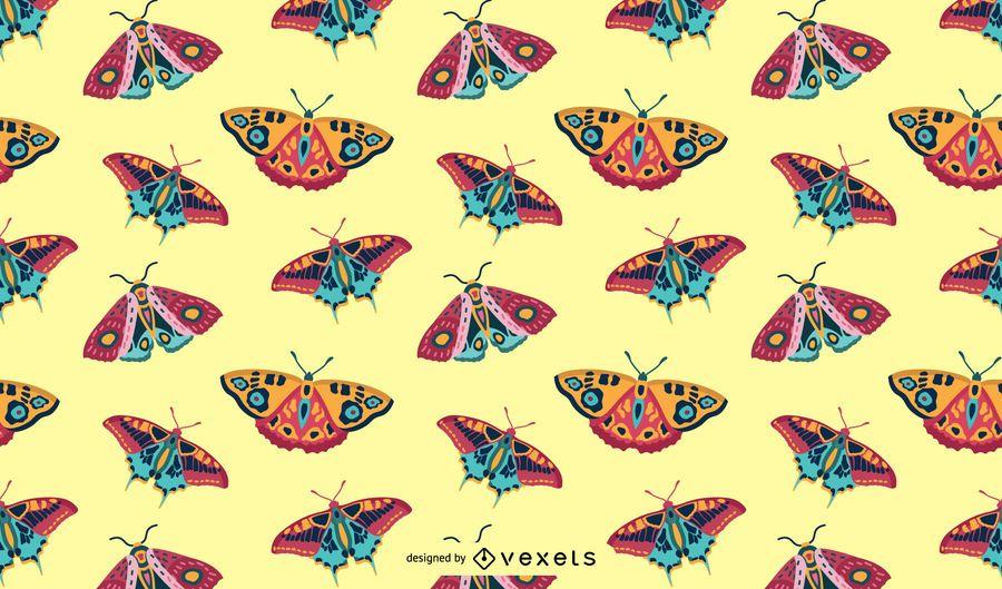 Padrão de borboletas coloridas