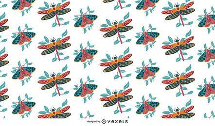 Diseño de patrón colorido de insectos voladores