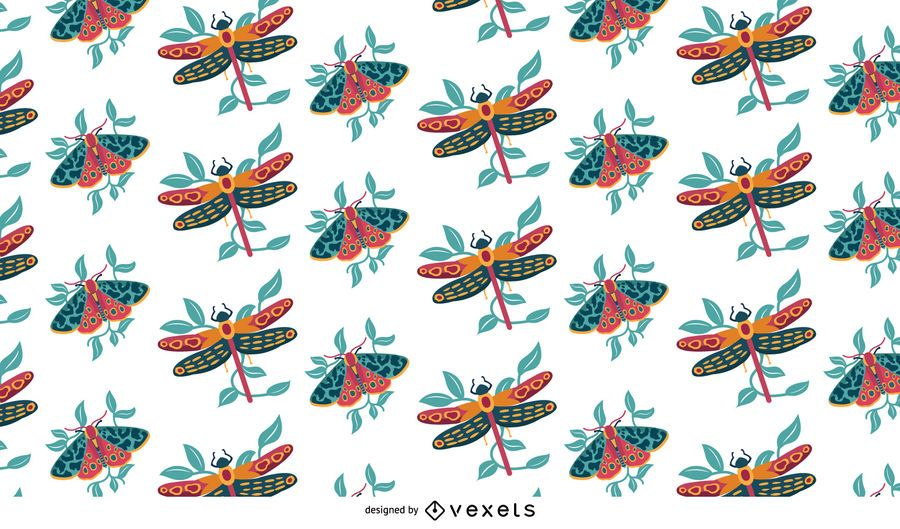 Flying Insects Colorful Pattern Design