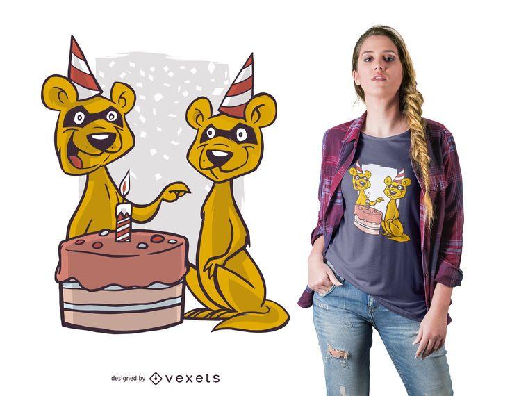 Projeto do t-shirt da doninha do aniversário