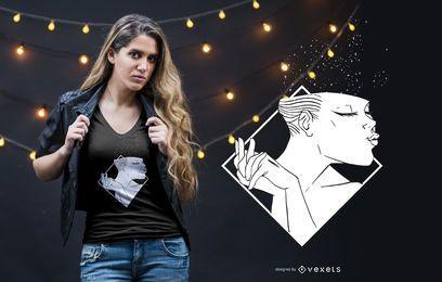 Mulher, sorrindo, t-shirt, desenho