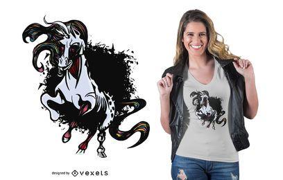 Diseño de camiseta unicornio oscuro