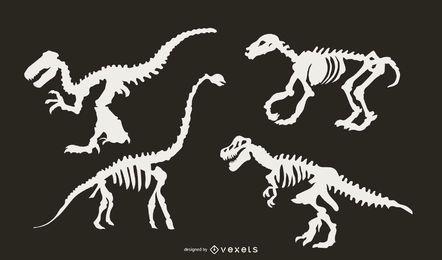 Conjunto de silhueta de esqueleto de dinossauro