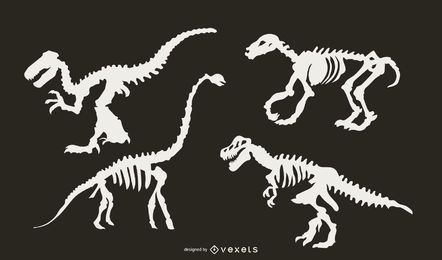 Dinosaur Skeleton Silhouette Set