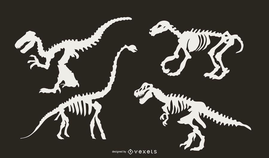 Dinosaur Skeleton Silhouette Set
