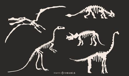Dinosaur skeleton silhouettes set