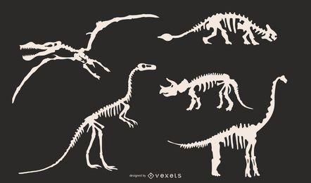 Dinosaurier-Skelett-Silhouetten festgelegt