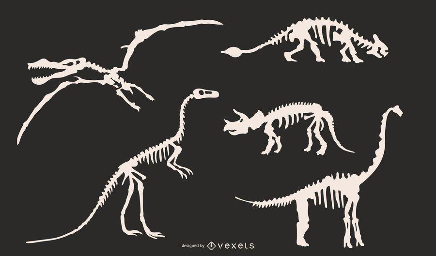 Conjunto de siluetas de esqueleto de dinosaurio.