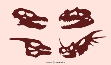 Dinosaurier Schädel Silhouetten