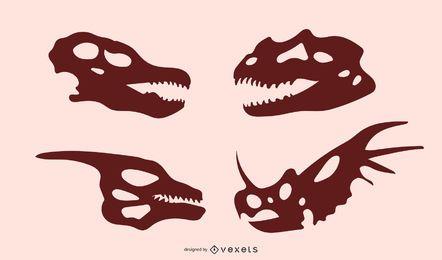 Silhuetas de caveira de dinossauro