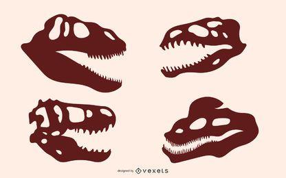 Silhuetas de osso de dinossauro