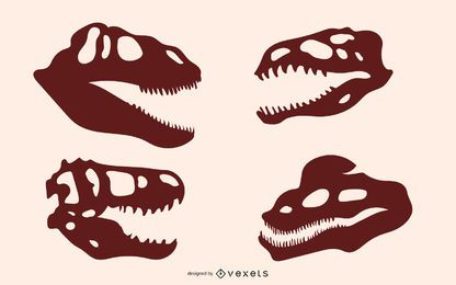 Siluetas de hueso de dinosaurio