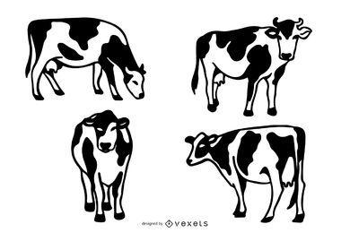 Ilustração de vacas Doodle