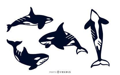Conjunto de silhueta de baleia assassina