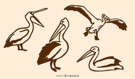 Conjunto de Doodle Pelicano