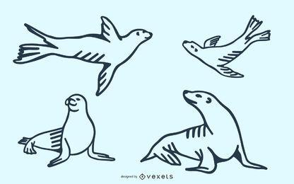Conjunto de Doodle de Leão-marinho