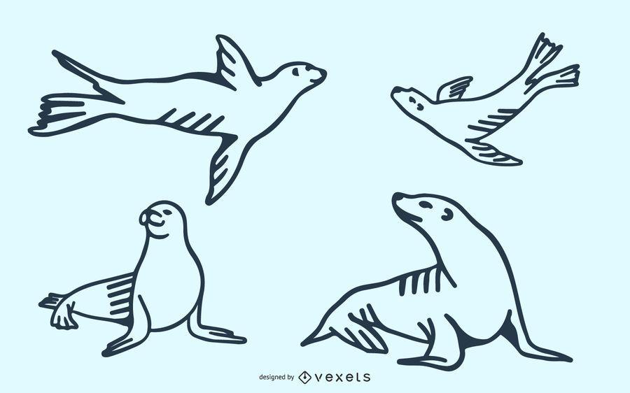 Doodle de león marino