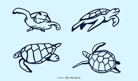 Meeresschildkröte Doodle Design