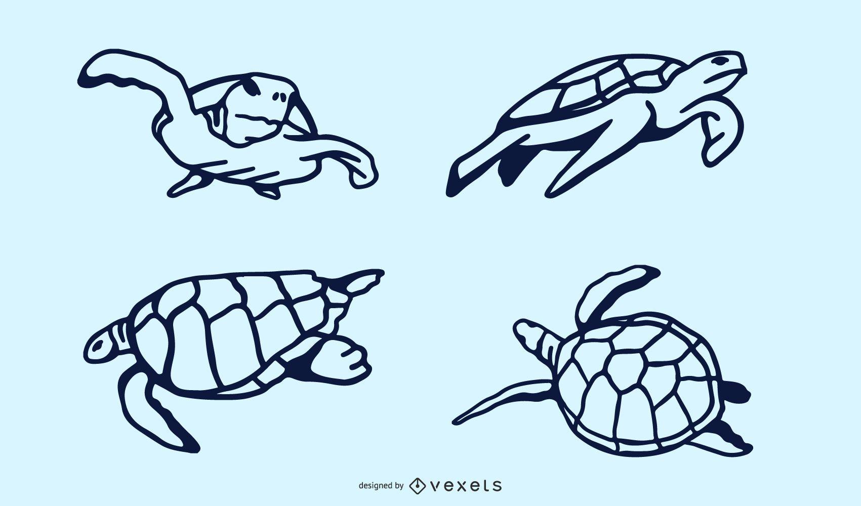 Diseño de Doodle de tortuga marina