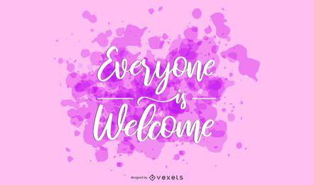 Todo mundo é bem-vindo Lettering Design