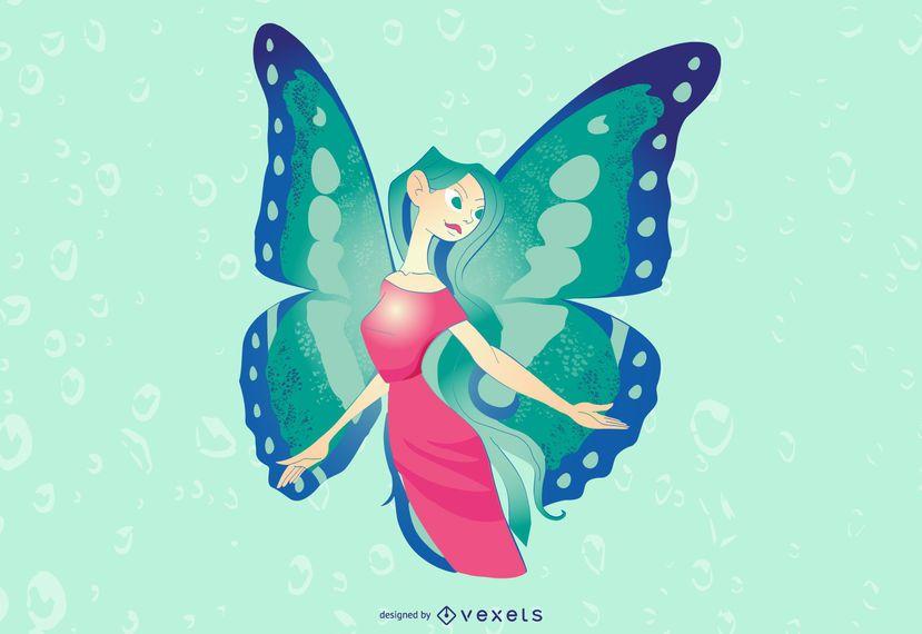 Diseño de ilustración de hada verde