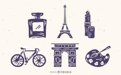 Conjunto de silueta de detalles de elementos franceses