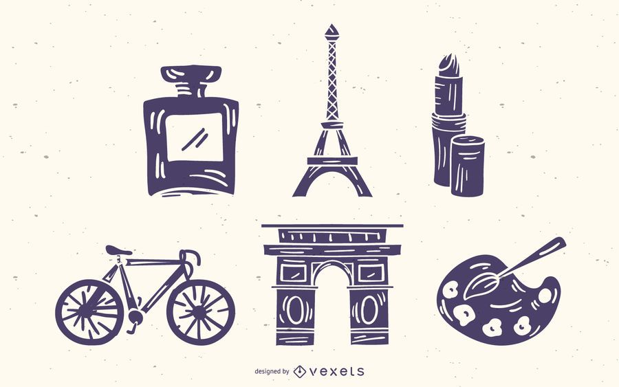Conjunto de silhueta de detalhes de elementos franceses