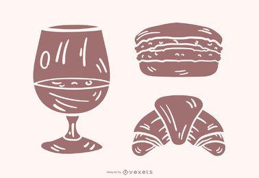 Conjunto de vetores de silhueta de comida francesa