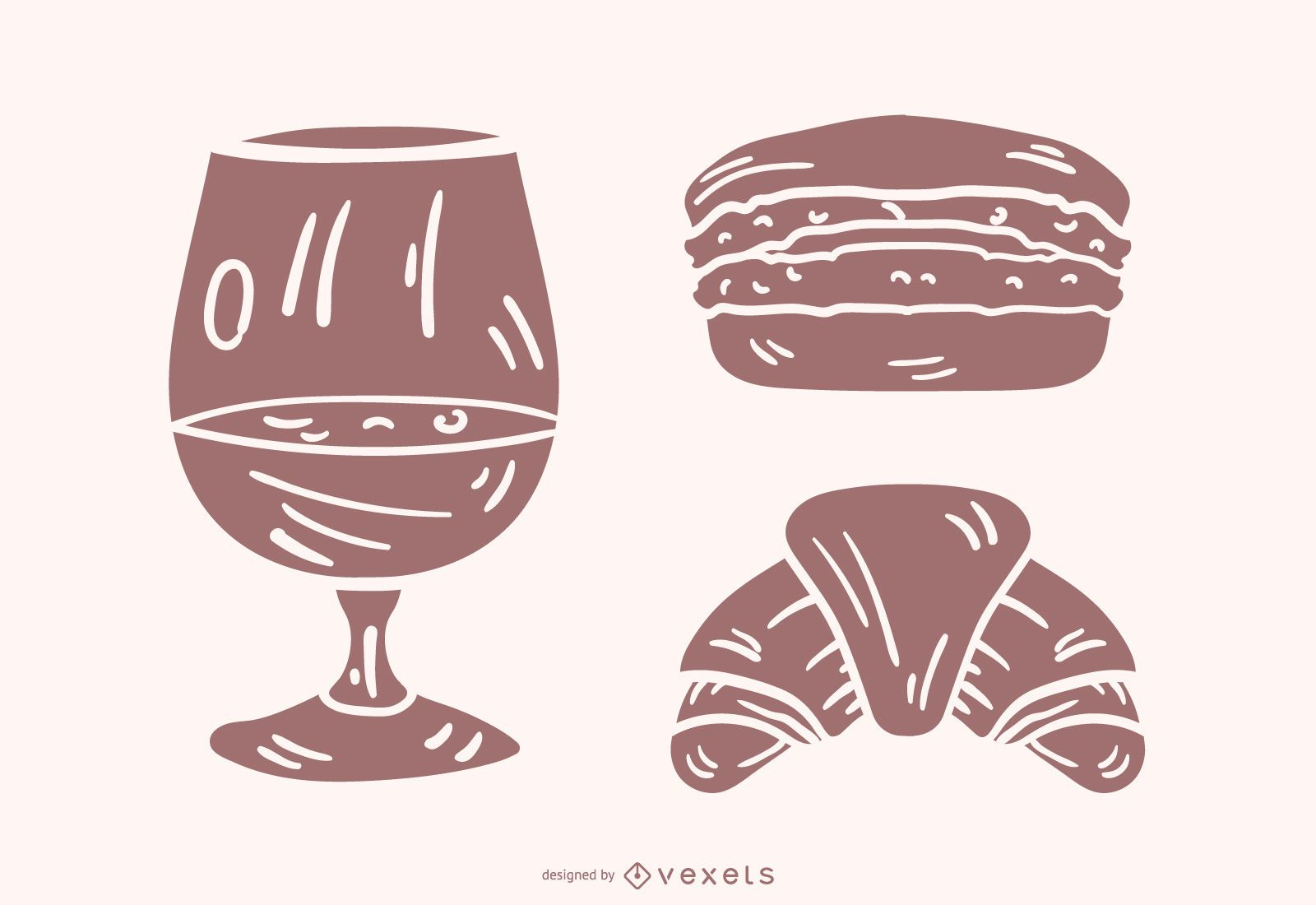 French Food Silhouette Vector Set