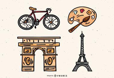 Elementos franceses dibujados a mano