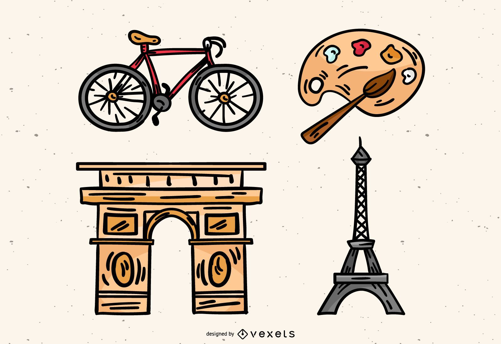 Hand drawn french elements