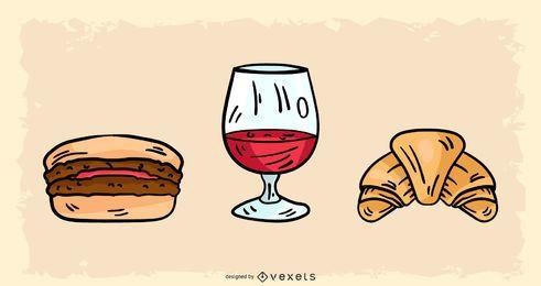 Diseño de comida francesa dibujada a mano