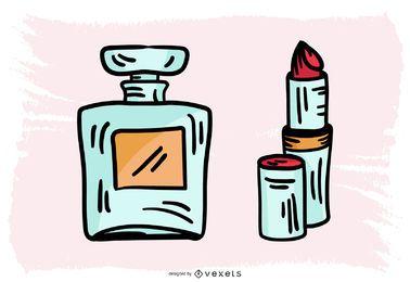 Design de maquiagem francesa de mão desenhada