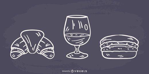Design de comida francesa de silhueta