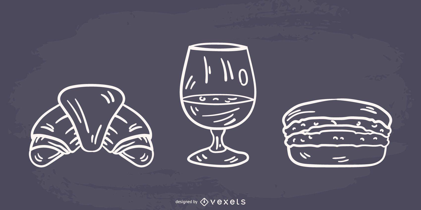 Diseño de comida francesa silueta