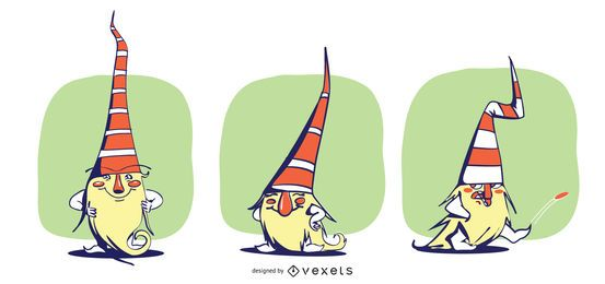 Gnomes Colored Vector Set