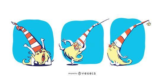 Conjunto de vectores de dibujos animados de gnomos